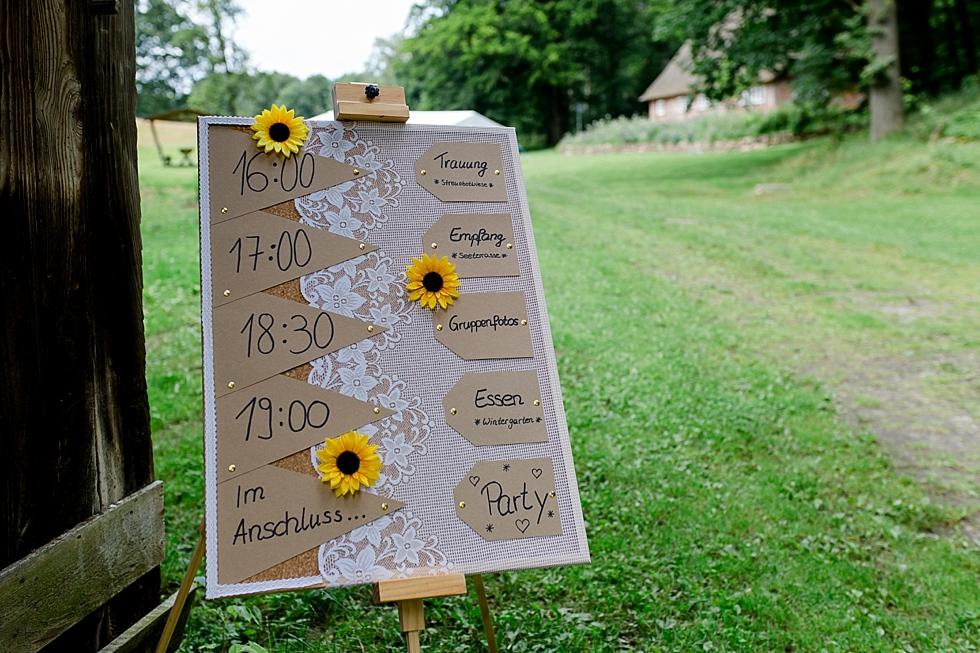Begrüßungstafel für Gäste, Sonnenblumen, selbergemacht, Heiraten im Haverbeckhof Bispingen - Jana Richter fotografie-28.jpg